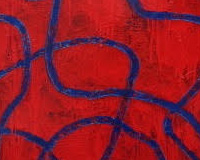 Blue cord on red field. Óleo sobre tela, 130x100 cms.